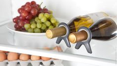 Vine  Put a stop to your bottles rolling around in the fridge with the simple-but-elegant Vine