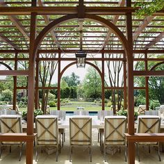 "Anne Decker, of Anne Decker Architects: ""This outdoor dining space was designed for larger scale entertaining, capturing axial and panoramic view of the surrounding landscape of this picturesque Virginia horse farm. Curved Pergola, Pergola Patio, Gazebo, Pergola Ideas, Patio Ideas, Outdoor Ideas, Vinyl Pergola, Modern Pergola, Pergola Plans"
