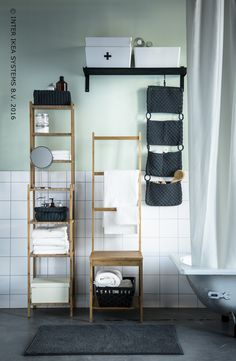 Maak het je 's morgens gemakkelijker met toegankelijke opbergruimten. Stellingkast RAGRUND #IKEABE  Facilitate the morning rush with accessible storage space. Cabinet RAGRUND #IKEABE