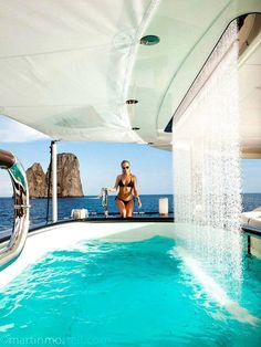 The Glamorous Life. ~~~pool with a waterfall.on a yacht! The Glamorous Life. ~~~pool with a waterfall.on a yacht! Yacht Design, Super Yachts, Luxury Travel, Luxury Cars, Yacht Party, Yacht Boat, Luxury Living, Dream Vacations, Luxury Lifestyle