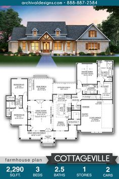The Cottageville farmhouse plan offers a spacious open floor plan with split-bedroom design.  The gourmet kitchen offers a butler's pantry and walk-in pantry.  Extra perks include access to the laundry from the master, a huge rear porch, and a bonus room above the garage.