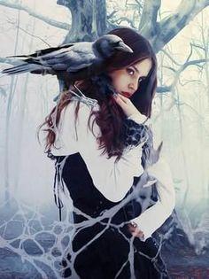 #spirithoods #inneranimal Girl and raven Christmas Canvas Art, Art Journal Backgrounds, Dark Art Tattoo, Spring Art Projects, Star Wars Concept Art, Watercolor Art Paintings, Fantasy Art Women, Goth Art, Gothic Girls