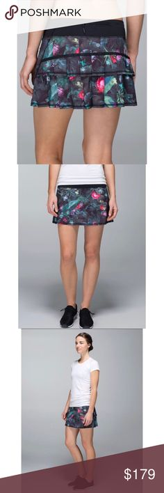 Lululemon Pace Setter Skirt- Curious Jungle, Sz 8 Lululemon Pace Setter Skirt- Curious Jungle, Size 8  Lulu Pace Setter skirt in the Curious Jungle print. This skirt is both cute and practical with shorts underneath and multiple pockets (two hidden interior, one zipper pocket in back). There is also a mesh pocket on the shorts underneath for tennis balls. 4-way stretch. Release date June 2014. Fabulous condition! ☺  Length-12 inches in front; 13 inches in back  Waist- 31 inches (15.5 inches…