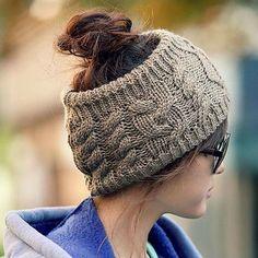 8c5376ae66b JOVANA Winter Warm Twist knitting wool hat headgear Women s Ladies Korea  Knit Crochet flora Twist Style Headband Head Wrap (Brown) Knit made  Fashionable ...