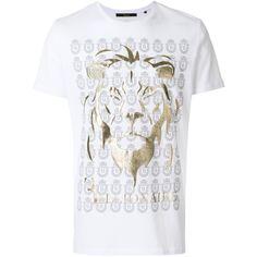 Billionaire lion print T-shirt ($313) ❤ liked on Polyvore featuring men's fashion, men's clothing, men's shirts, men's t-shirts, white, mens white shirts, mens white t shirts, mens cotton t shirts, mens white cotton shirts and mens cotton shirts
