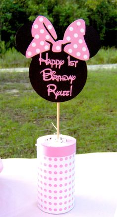 Minnie Mouse Centerpiece in Light Pink. $12.00, via Etsy.
