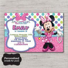 Minnie Mouse Birthday inviteMinnieMinnie's by DIYpartyprint Baby Girl 1st Birthday, 2nd Birthday Parties, 4th Birthday, Birthday Stuff, Birthday Ideas, Minnie Mouse Birthday Invitations, Party Invitations, Invites, Minnie Boutique