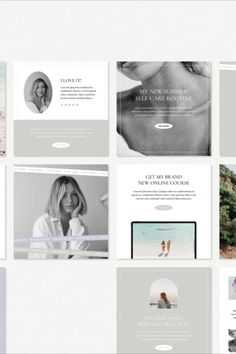 30 Instagram post templates for Canva (1500x1500 px). 30 tall Instagram post templates for Canva (1500x1875 px). 30 Instagram Story templates for Canva (1080x1920 px). Easy to edit in Canva desktop application (you don't need to have a premium account, the FREE one will work just fine). No Photoshop required. Used fonts are free for personal and commercial use. Photos are not included. Fully customizable (change fonts, colors, images, layout, etc.) Social Media Branding, Social Media Design, Social Media Graphics, Free Instagram, Instagram Posts, Instagram Post Template, No Photoshop, Newsletter Templates, Social Media Template