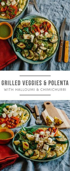 Gluten-Free Grilled Veggies & Polenta with Halloumi, pineapple, squash, tomatoes and chimichurri. Recipe here: https://greenchef.com/recipes/grilled-veggies-and-halloumi-with-creamy-polenta?utm_source=pinterest&utm_medium=link&utm_campaign=social&utm_cont