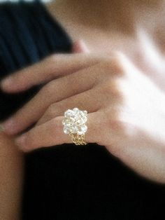 .Citrine Crochet knitted Ring