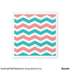 Coral and Teal Chevron Napkin