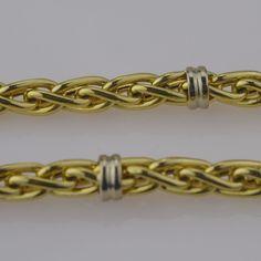14k Yellow Gold Estate Cabochon Emeralds Toggle Clasp Wheat Necklace/Chain 17''  #Chain