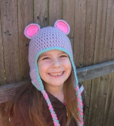 Bear Animal Hat with Earflaps and Tassles  by modernmemere on Etsy, $30.00