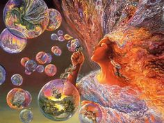 Josephine Wall - Bubble Flower From her enchanted flower of bubbles, the fairy blows fragments of fairyland into the mortal world, reminding us that a touch of magic can make any day more beautiful. Josephine Wall, Flower Mural, Flower Wall, Angel Wallpaper, Bubbles Wallpaper, Wall Wallpaper, Blowing Bubbles, Blowing Kisses, Fairy Land
