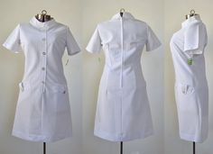 Fun vintage nurse uniform in white textured poly. Mod silhouette with high neck and oversized buttons and metal center back zipper. Nursing Dress, Nursing Clothes, Vintage 1950s Dresses, Vintage Outfits, Uniform Dress, Shirt Dress, White Nurse Dress, White Lab Coat, Pinning Ceremony
