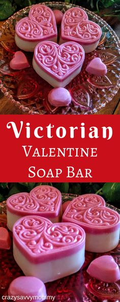 Victorian Valentine Soap Bar. These Victorian Valentine Soap Bars are made with our Oh My Goddess soap recipe and offered for a limited time this Valentine season. Our Victorian Valentine Soap Bars come in approximately 4 oz heart-shaped bars with a pink embossed design.All natural. Handmade. Click the link to buy them NOW at Etsy.com! #valentinesideas #valentinesdaydecor #giftideas #ad #diygifts #valentinesday