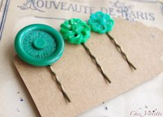 Emerald Green hair pin Upcycled vintage button by chezviolette