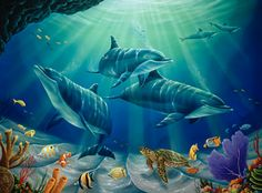 Dolphin Family Mural - Jeff Wilkie| Murals Your Way. largest 12'9''x9'5''