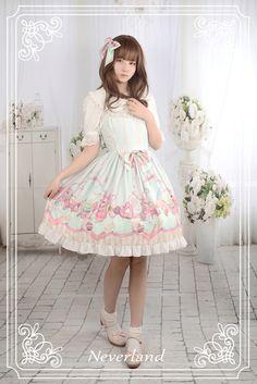 a1a2632c90f Neverland Lolita -Tea Party Rabbits- Lolita Jumper Dress + Hairclip Set   60.99 - My