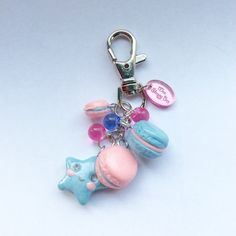 Pastel Goth, Fairy Kei Kawaii Macaron Keychain by Wee Sleepy Bee Crafts