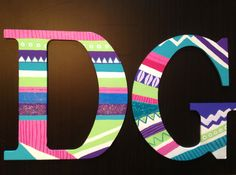 My version of DG tribal print letters! Hope my little loves them! Delta Gamma crafts!