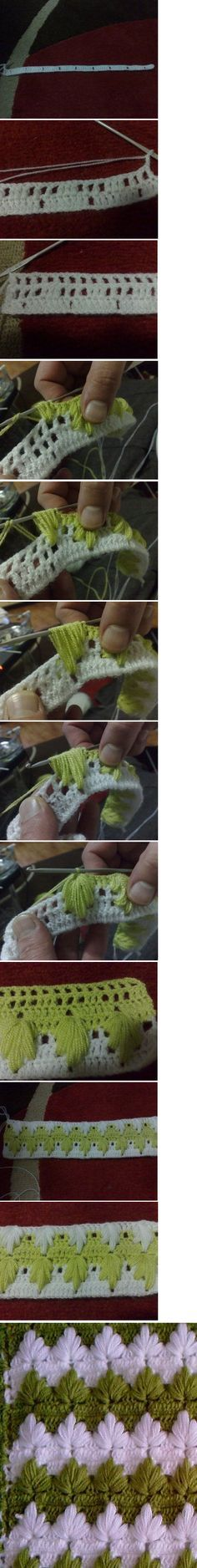 This is a fun crochet stitch. One pinner stated: I don't remember the name of this crochet technique but all I need is the tutorial! Crochet Motifs, Crochet Stitches Patterns, Filet Crochet, Crochet Designs, Stitch Patterns, Knitting Patterns, Love Crochet, Crochet Crafts, Crochet Yarn