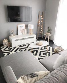 très joli salon et pièce à vivre dans le style scandinave avec un canapé gris, une télévision, une échelle en bois et un tapis noir et blanc.