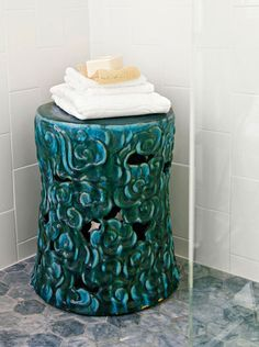 A Sassy Seat - A vintage garden stool provides textural contrast (and a place for towels) against the shower's vertically oriented wall tile. Yellow Bathrooms, Aqua Rooms, Modern Bathrooms, Dream Bathrooms, Bathroom Design Small, Bathroom Ideas, Bathroom Designs, Kitchen Designs, Ceramic Stool