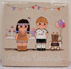 COCONIC: Cuadros infantiles pintados a mano de una fiesta de disfraces, totalmente personalizados.Para decorar la habitación de la pequeña Valeria, en tonos malvas.