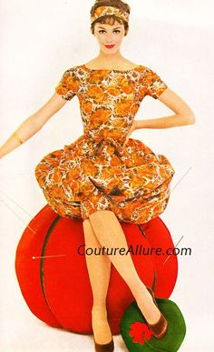 Couture Allure Vintage Fashion: Bubbles, Bubbles Everywhere - 1958 orange brown tan fall colors late 50s bubble skirt dress cocktail floral short sleeves model