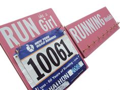 "Love the ""Run like a girl"" running bib holder. :) Running Medals and Running Bibs holder: running gift. $48.00, via Etsy."