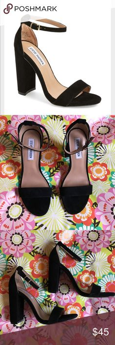 "Steve Madden ""Carrson"" Sandal Black suede, worn once but in like new condition. Chunky block heel with delicate ankle strap. Steve Madden Shoes Sandals"