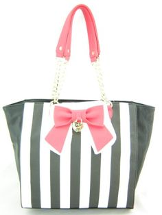 Betsey Johnson Chain Handle Bow Tote Black White Multi