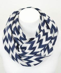 Take a look at this Navy & White Zigzag Infinity Scarf by Leto Collection on #zulily today!