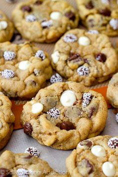 Amazing and super-thick Triple Chocolate Chip Cookies. A secret ingredient makes them so soft, thick, and irresistible! #cookies #cook #recipes #cake