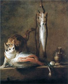 Jean-Baptiste-Siméon Chardin (French, 1699 – - Still Life with Cat and Fish - Oil painting, 1728 - Museo Thyssen-Bornemisza, Madrid Inspiration Artistique, Photo Chat, Jean Baptiste, Oil Painting Reproductions, Fish Art, Cat Art, Lovers Art, Still Life, Be Still