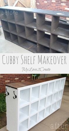 Cubby Shelf Makeover : Chicken Coop Nesting Boxes makeover into a fabulous cubby for dance class (or any busy family) Cubbies, Cubby Shelves, Cubby Storage, Diy Storage, Food Storage, Smart Storage, Bedroom Storage, Storage Baskets, Storage Ideas