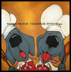 singing chefs WEIMARANER gray BLUE dog by tangerinestudio on Etsy, $95.00