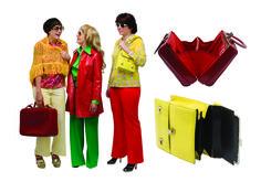 1970 - pantalons et jersey façon pattes d'eff, blouses, châles, blousons et sacs, collection privée © Solo-Mâtine Corset, Red Leather, Leather Jacket, Lingerie, Facon, Jackets, Vintage, Collection, Trousers