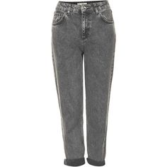 TOPSHOP Petite MOTO Black Acid Wash Mom Jeans ($70) ❤ liked on Polyvore featuring jeans, pants, bottoms, trousers, black, petite, topshop jeans, acid washed jeans, high rise jeans and petite jeans