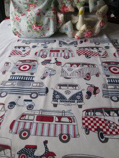BN Bright Haberdashery Cotton Remnant In Happy Campers (VW Camper vans )