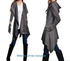 Primera línea del poema - chaqueta parka deconstruido / asimétrica trinchera abrigo con capucha / idea2lifestyle negro chaqueta / gris parka (Y1566)