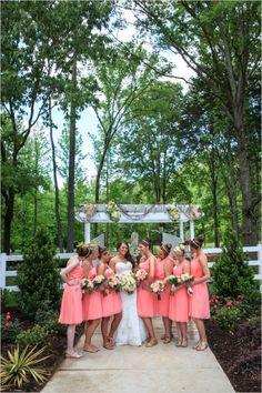 one shoulder coral bridesmaid dresses #countrywedding #coralwedding #wedddingchicks http://www.weddingchicks.com/2013/12/23/country-chic-wedding-2/