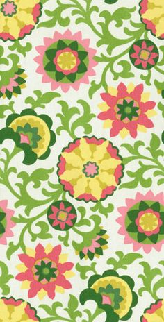 Home Decor Print Fabric-Pkaufmann Pinwheel Parade Pink Green
