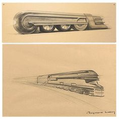 Raymond Loewy - improved appearance, maintenance and manufacturing Locomotive, Raymond Loewy, Art Deco Posters, Vintage Posters, Streamline Moderne, Beautiful Sketches, Train Art, Train Pictures, Google Doodles