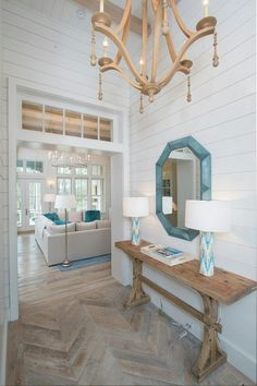 Elegant White Beach House Ideas 04 – GooDSGN coastal living room decor, lakehouse living room decor, cottage foyer decor, lakehouse foyer design with coastal foyer, wood herringbone floor Coastal Living Rooms, Coastal Homes, Coastal Decor, Coastal Style, Aqua Decor, Coastal Cottage, Coastal Farmhouse, Nautical Style, Beach Homes