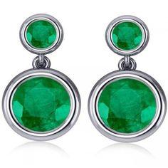 Allurez Double Emerald Bezel Gemstone Drop Earrings 14k White Gold... ($7,995) ❤ liked on Polyvore featuring jewelry, earrings, green gem earrings, gem earrings, emerald drop earrings, bezel set earrings and 14 karat gold earrings