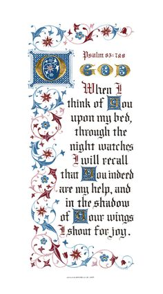 Fine Art Print Psalm 63 O God Clifford Mansley Calligraphy