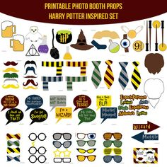 Instant Download Harry Potter Inspired Party Birthday Party Printable Photo Booth Props Photobooth Props Die Cut DIY