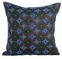 Abstract Thoughts - 16x16 Blue & Green Pipe bead Embroidered Brown Silk throw Pillow.